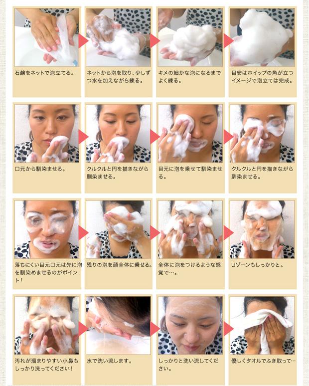 ビーンズソープでの泡洗顔の方法
