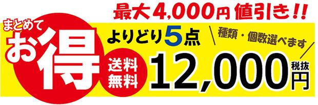 よりどり5点お買い得セット!お好きな商品を選べて、最大4000円値引!